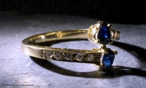 Ring: gold, sapphires, and diamonds, late twentieth century, p.c.